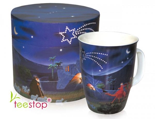Becher (0,2 Liter) Navidad mit weihnachtlichem Motiv aus Porzellan im Geschenkkarton verpackt
