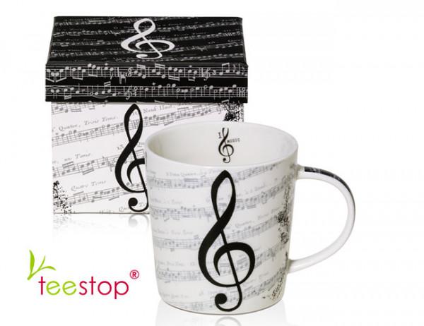 Becher I Love Music aus Porzellan im Geschenkkarton verpackt