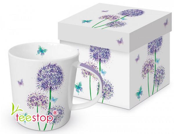 Becher Allium aus Porzellan in Geschenkbox verpackt