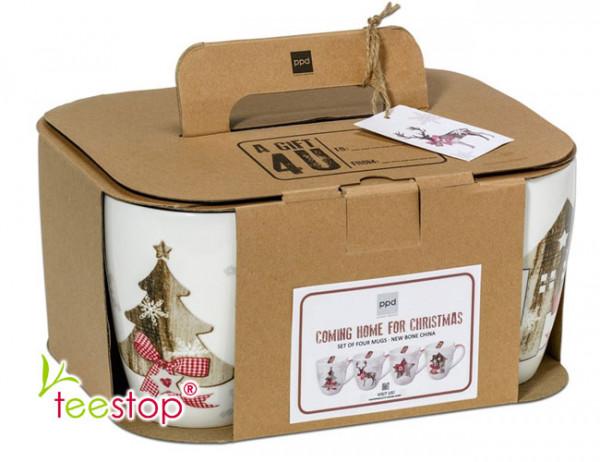 Becher Set Country X-MAS aus Porzellan im Geschenkkarton verpackt