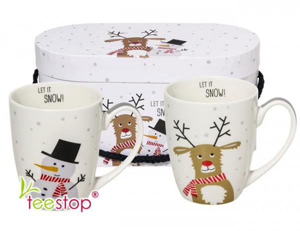Becherset Snow Friends aus Porzellan im Geschenkkarton