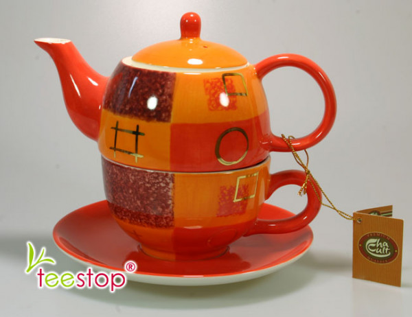 Tea for One Set Patricia aus Keramik mit Goldauflage Cha Cult