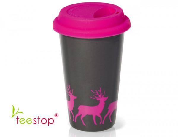 Thermobecher Pink Deer aus doppelwandigem Porzellan in anthrazit mit pinken Rehen