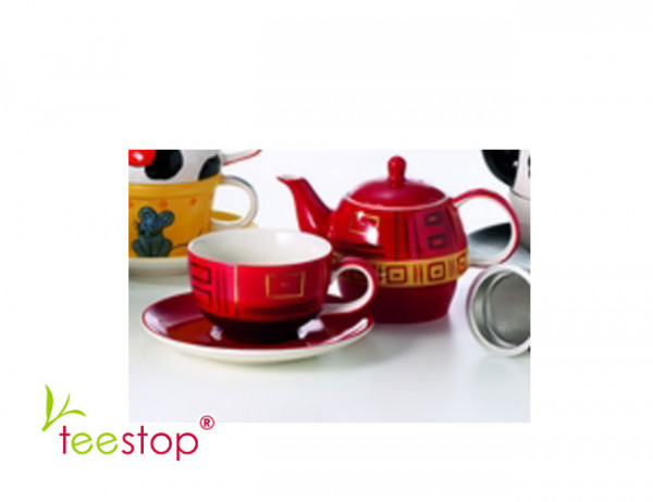 Tea for One Set Tiara aus Keramik mit Goldauflage Cha Cult