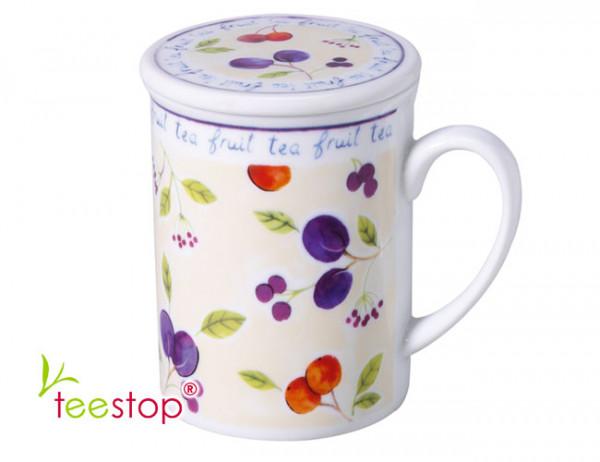 Kräuterteerasse (0,3 Liter) Fruit Tea mit Edelstahlsieb aus Porzellan (Motiv Pflaume)