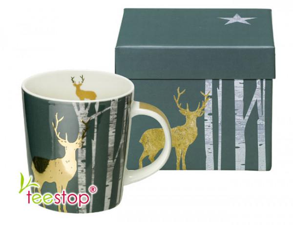 Becher Mystic Deer aus Porzellan im Geschenkkarton verpackt