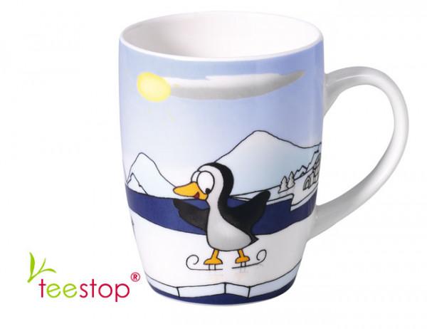 Winter Becher mit lustigem Pinguin Motiv