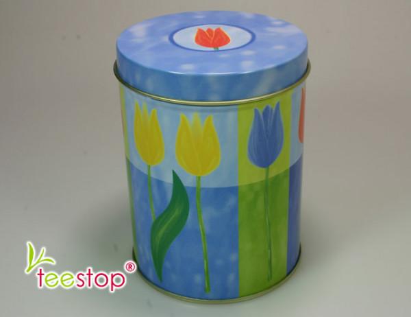 runde 100g Dose mit Tulpen als Motiv - blauer Deckel
