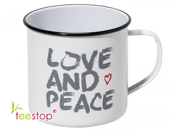 pulverbeschichteter Metallbecher Love and Peace