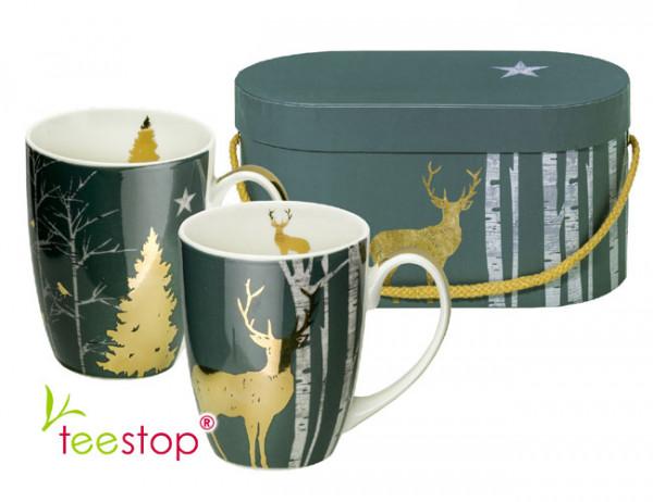 Becherset Mystic Deer aus Porzellan im Geschenkkarton