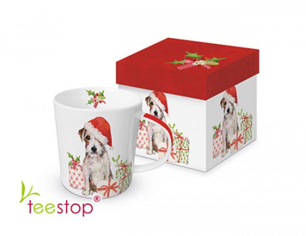 Becher Christmas Pup aus Porzellan in Geschenkbox verpackt