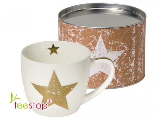 großer Becher (0,4 Liter) Star Real Copper mit goldenem Sterne aus Porzellan im Geschenkkarton verpackt