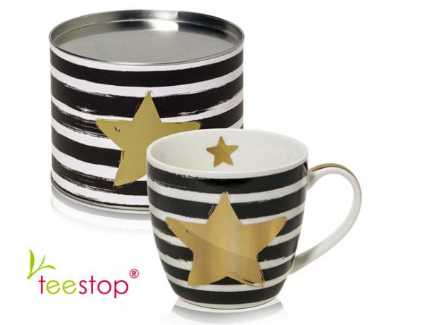 großer Becher (0,45 Liter) Star & Stripes mit goldenem Stern aus Porzellan im Geschenkkarton verpac
