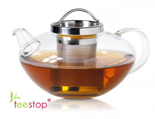 Teekanne Lotus aus Glas mit Edelstahlfilter und einem Volumen von 1,2 Litern
