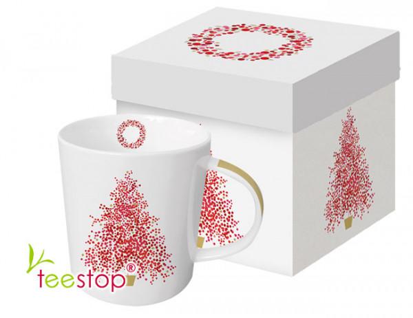 Becher Season's Tree aus Porzellan in Geschenkbox verpackt