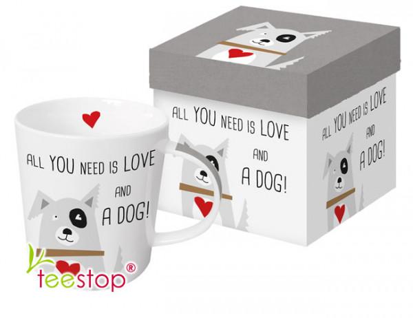 Becher Love and Dog mit nettem Hundemotiv und Spruch aus Porzellan in Geschenkbox verpackt