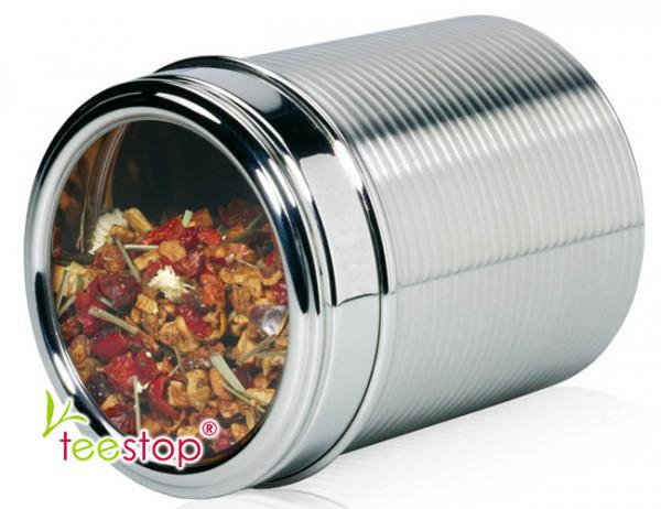 Dose Insight (200g Inhalt) aus Edelstahl mit Acrylsichtfenster im Sülpdeckel
