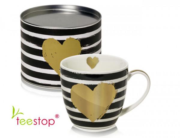 großer Becher (0,45 Liter) Star & Stripes mit goldenem Herz aus Porzellan im Geschenkkarton verpac