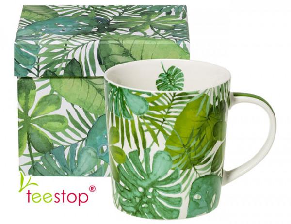 Becher Feuilles Tropicales aus Porzellan in Geschenkbox verpackt