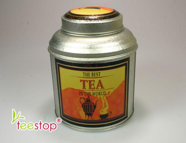runde Dose Best Tea mit Dockdeckel, Prägedekor und einem Volumen von125g