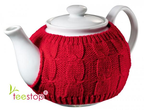 Teekanne Wolly mit Strickwärmer aus Porzellan