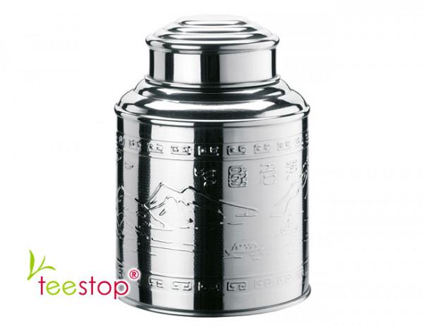 100g Dose Tea Caddy aus Edelstahl mit Prägedekor und Domdeckel
