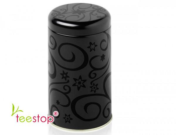 Dose Estelle rund mit schwarz matt-glänzendem Dekor und 100g Fassungsvermögen