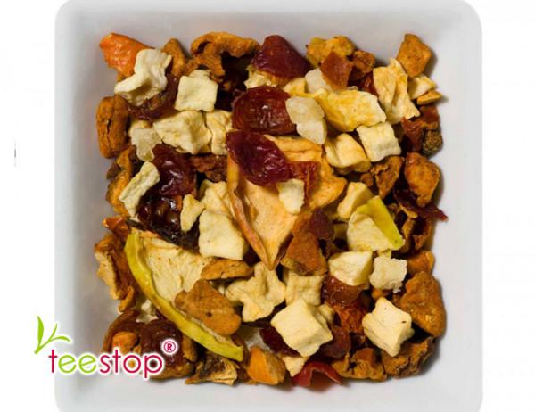 Früchtetee Apfelpudding an Karamellsauce