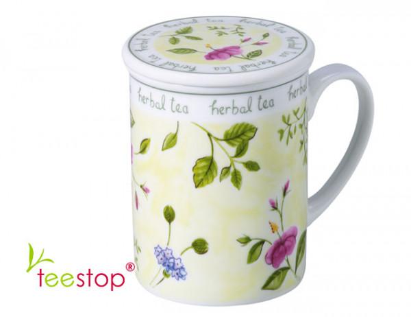 Kräuterteerasse (0,3 Liter) Herbal Tea mit Edelstahlsieb aus Porzellan grün