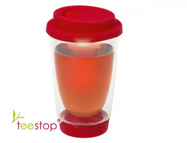 Teeglas Cleo doppelwandig in rot mit Silikondeckel und -fuß
