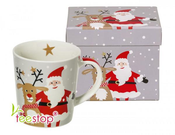 Becher Santa & Deer aus Porzellan in Geschenkbox verpackt