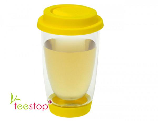 Teeglas Cleo doppelwandig in gelb mit Silikondeckel und -fuß