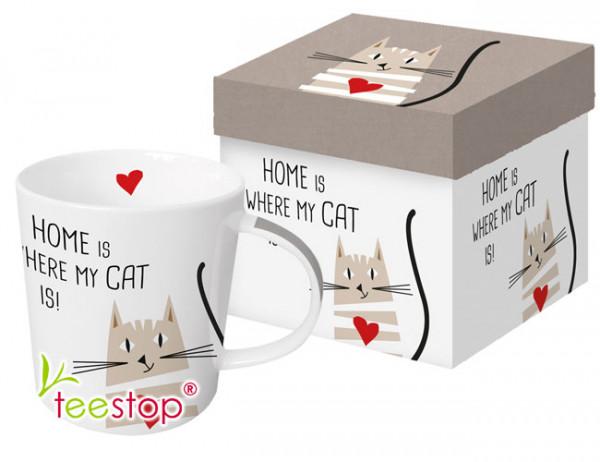 Becher Home Cat mit nettem Katzenmotiv und Spruch aus Porzellan in Geschenkbox verpackt