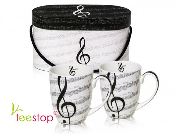 Becherset I Love Music aus Porzellan im Geschenkkarton