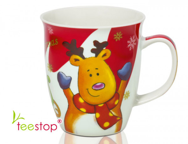 Becher Christmas Deer aus Porzellan (0,45l) mit lustigem Renntier als Motiv