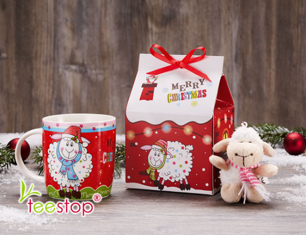 Winterbecher Hubi mit Plüschschaf im Geschenkkarton
