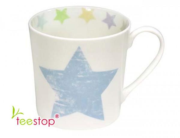 Becher Shabby mit blauem Stern in Pastellfarben aus Fine Bone China Porzellan