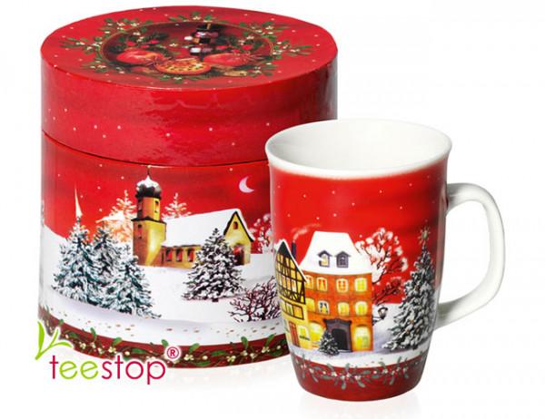 Becher (0,2 Liter)  Wintertime mit weihnachtlichem Motiv aus Porzellan im Geschenkkarton verpackt