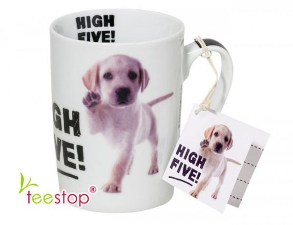 Porzellan Becher High Five mit Hundewelpe