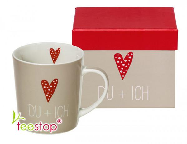 Becher Du & Ich aus Porzellan in Geschenkbox verpackt