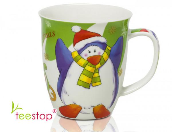 Becher Christmas Penguin aus Porzellan (0,45l) mit lustigem Weihanchtspinguin