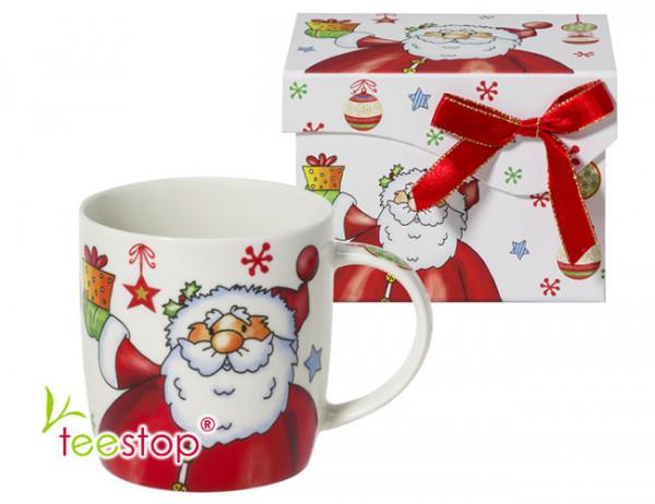 Becher Happy Sinterklass mit lustigem Weihnachtsmann aus Porzellan im Geschenkkarton verpackt