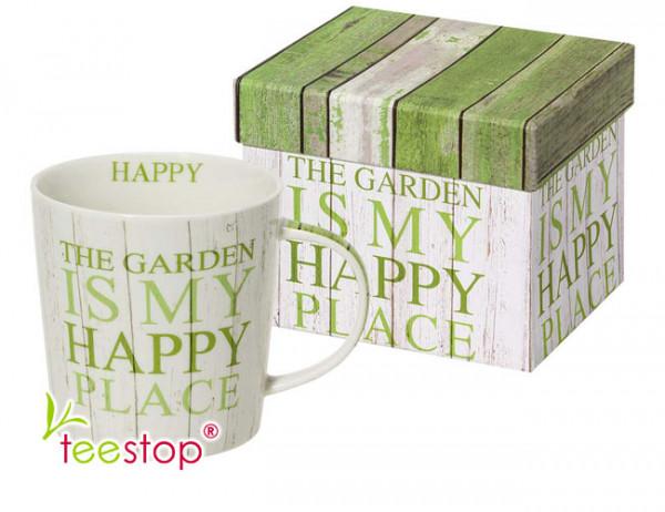 Becher the garden aus Porzellan im Geschenkkarton verpackt