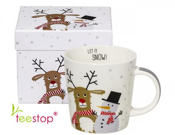 Becher Snow Friends aus Porzellan in Geschenkbox verpackt
