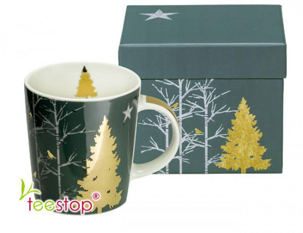 Becher Mystic Tree aus Porzellan im Geschenkkarton verpackt
