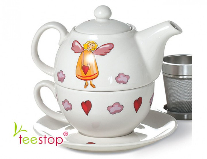 tea for one schutzengel tea for one keramik porzellan teegeschirr teestop. Black Bedroom Furniture Sets. Home Design Ideas